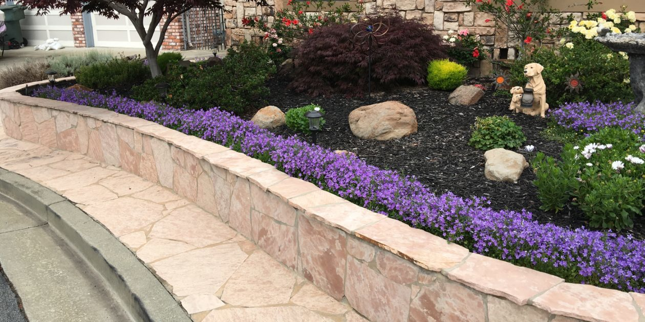 Oakland Landscaping Inc header image of flagstone walk retaining wall and colorful plants